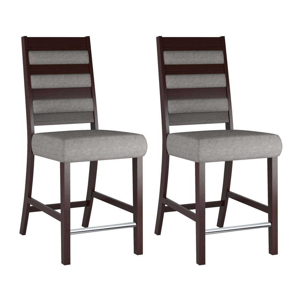 Counter Height Grey Sand Dining Chairs with Chrome Footrest, set of 2 - *CLEARANCE*