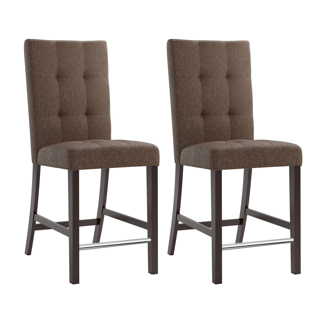 Counter Height Chestnut Bark Brown Dining Chairs with Chrome Footrest, set of 2 - *CLEARANCE*