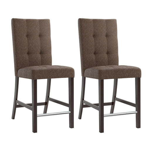 "Bistro Counter Height Chestnut Bark Brown Dining Chairs with Chrome Footrest, set of 2 - <body><p style=""color:#ED1C24"";>*CLEARANCE - Final Sale*</p></body>"