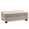 Velvet Like Fabric Storage Ottoman