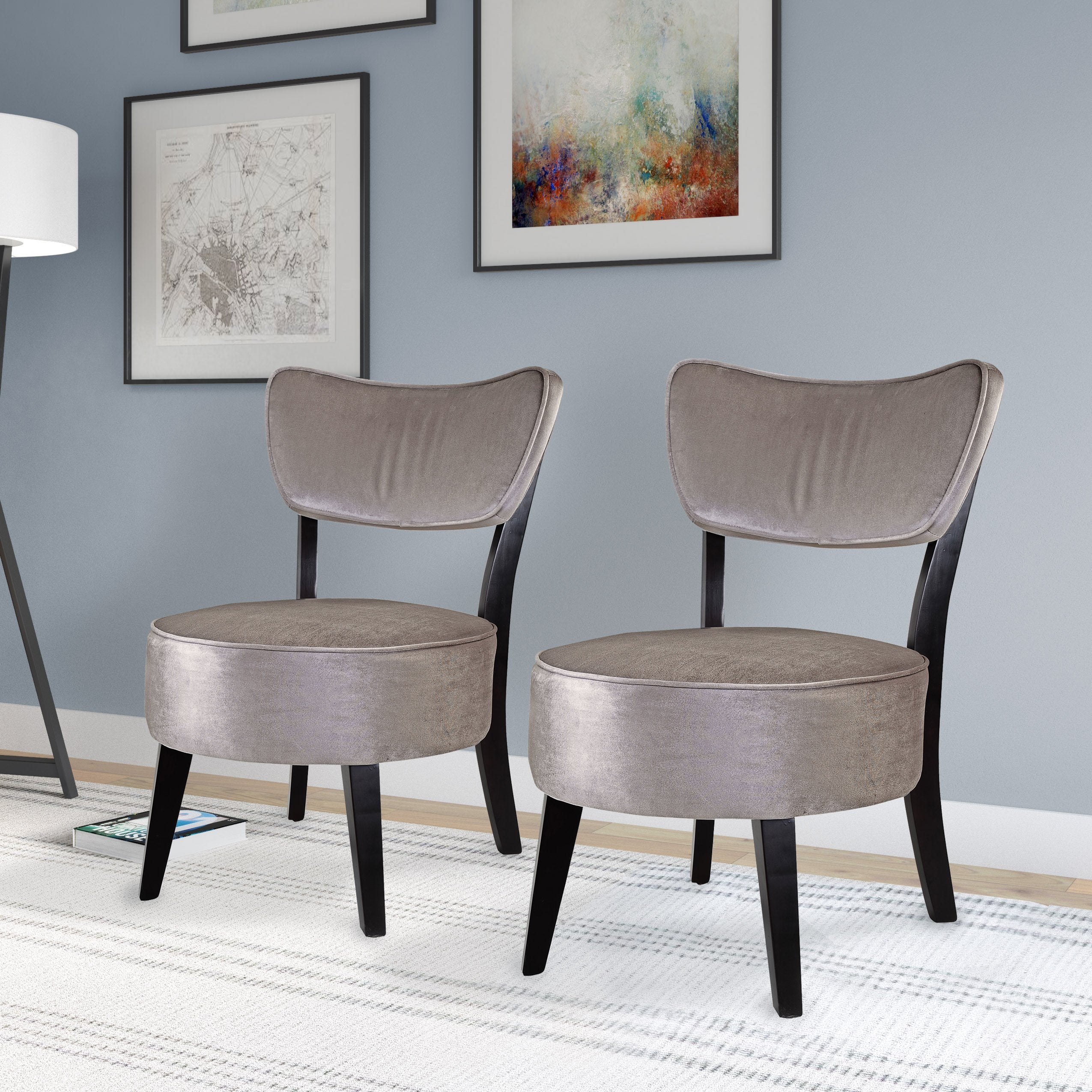 Admirable Grey Velvet Like Fabric Accent Chair Set Of 2 Pdpeps Interior Chair Design Pdpepsorg