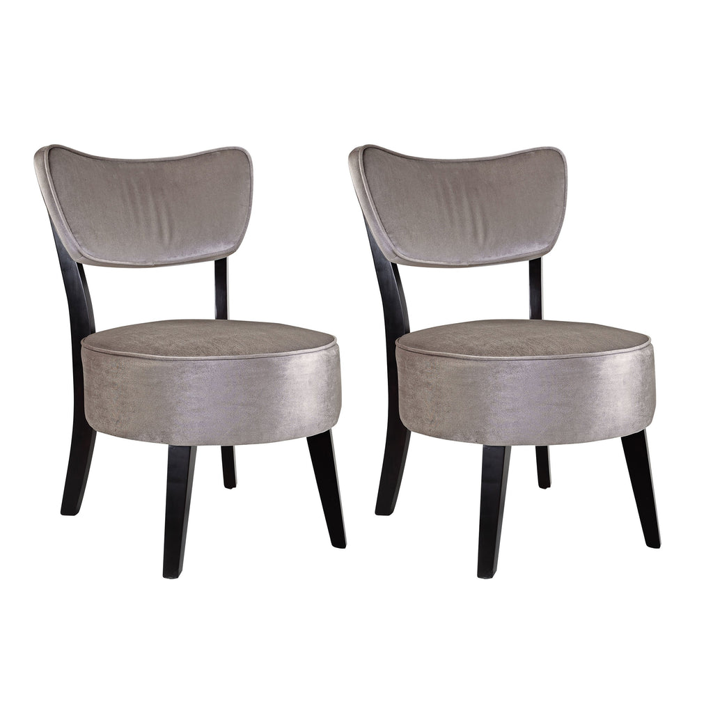 Grey Velvet Like Fabric Accent Chair, set of 2