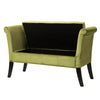Velvet Like Fabric Storage Bench with Scrolled Arms - *CLEARANCE*