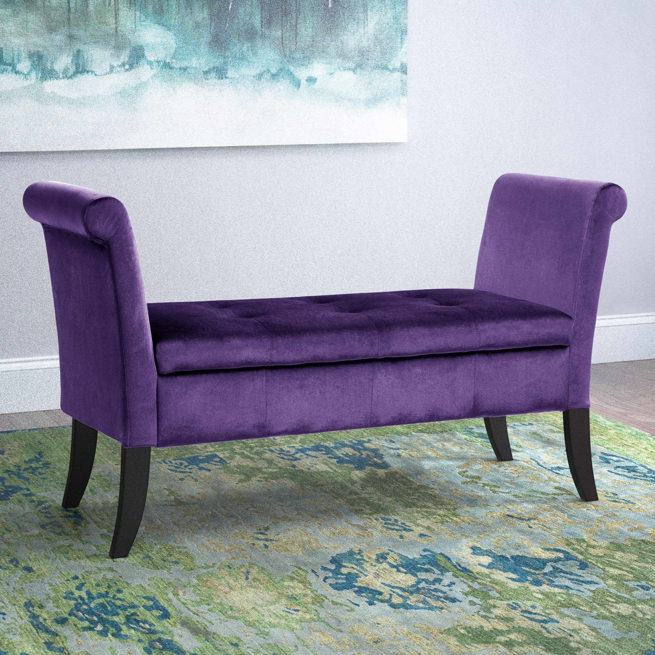 Velvet Like Fabric Storage Bench With Scrolled Arms