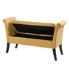 Fabric Storage Bench with Scrolled Arms