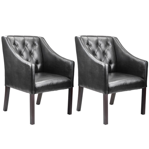 Accent Club Chair in Leather, set of 2
