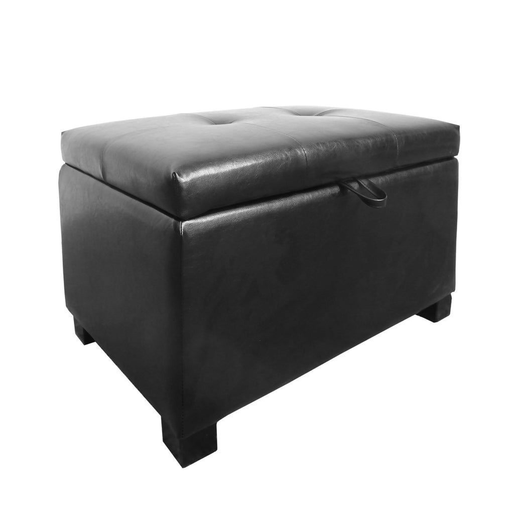 Black Leather Storage Ottoman