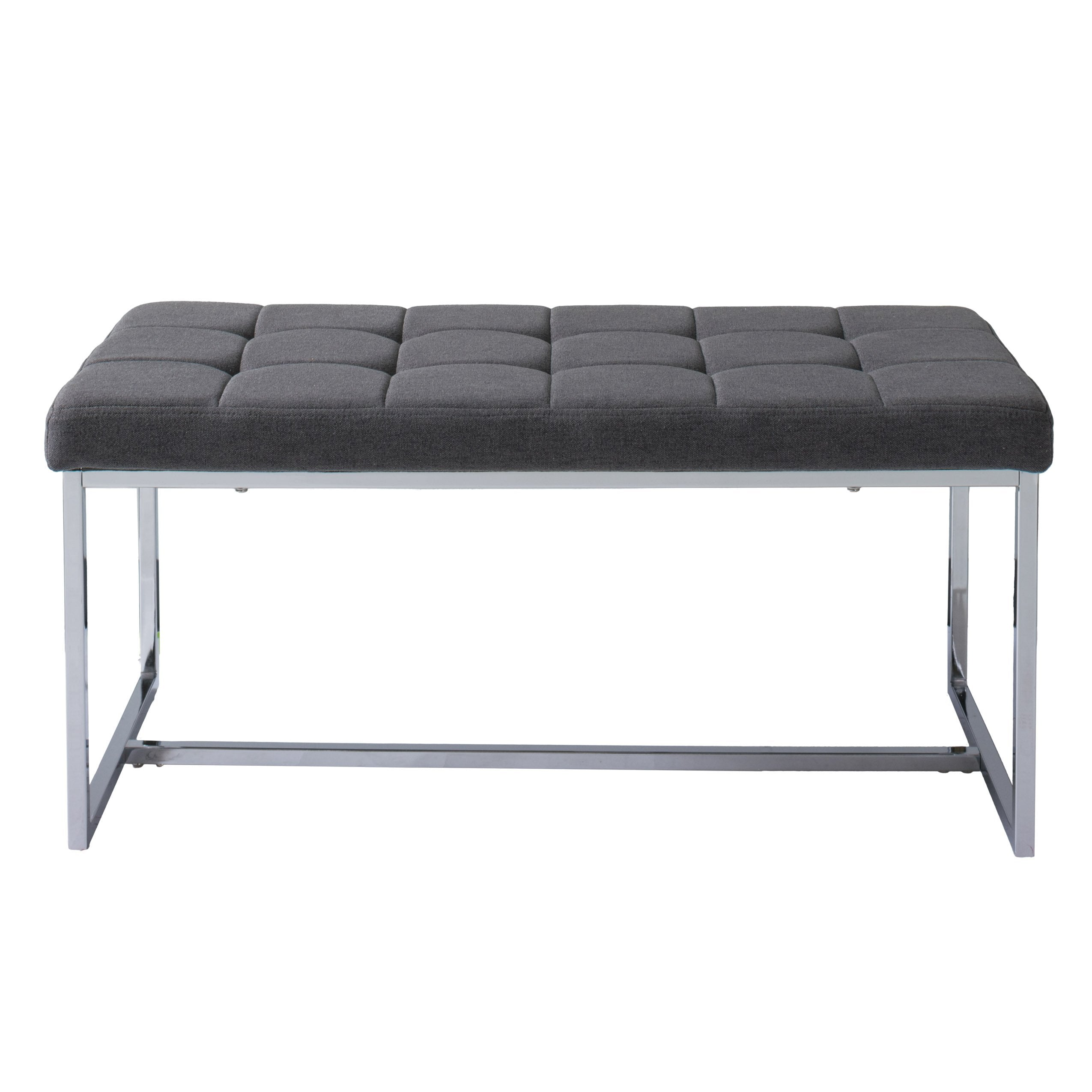 Incredible Modern Fabric Bench With Chrome Base Clearance Gmtry Best Dining Table And Chair Ideas Images Gmtryco