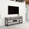 Oak Wood Veneer TV Bench with Glass Shelves for TVs up to 70""