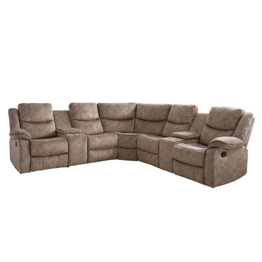 7pc Curved Modular Reclining Sofa Sectional with Storage Consoles, Fabric