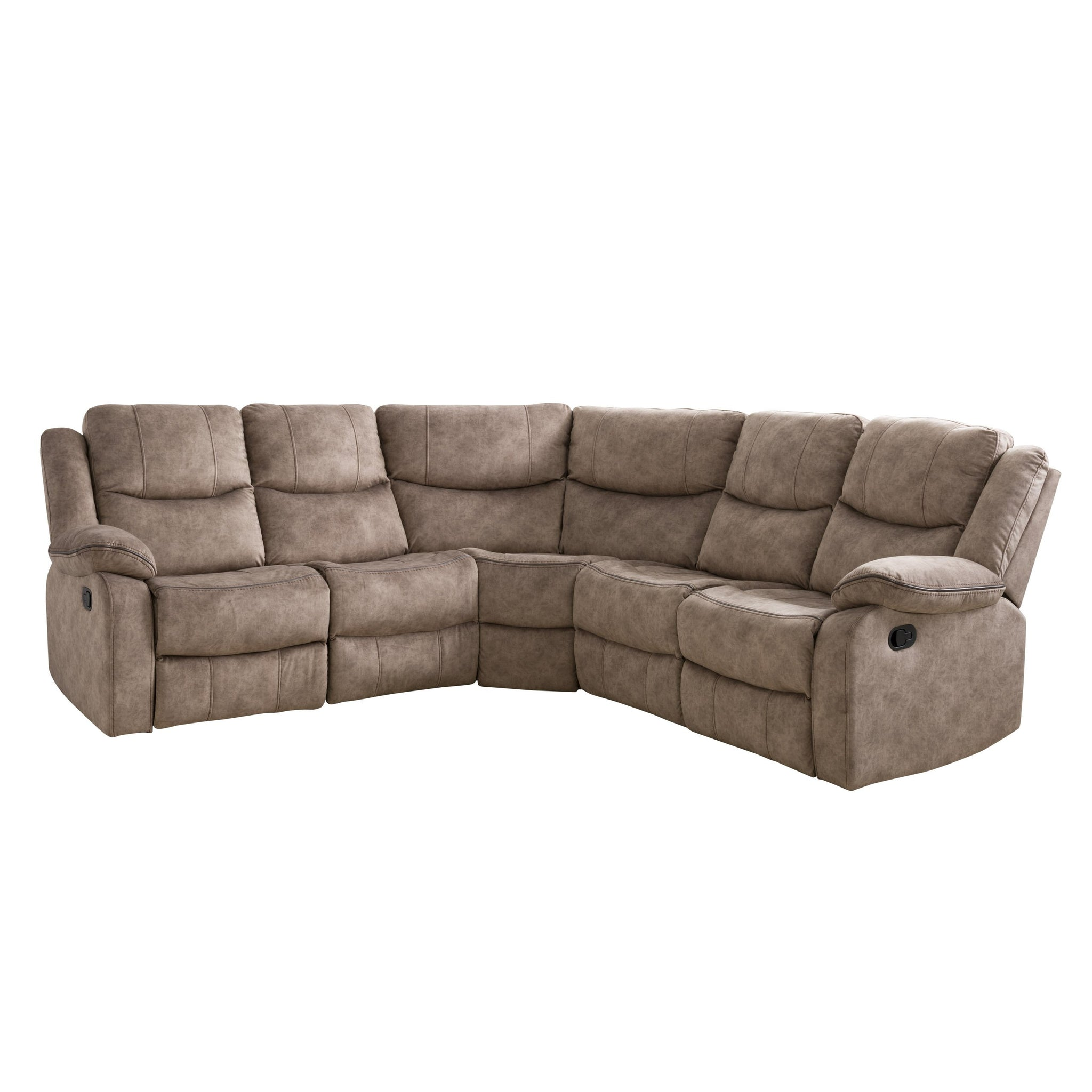 5pc Curved Modular Reclining Sofa Sectional Fabric