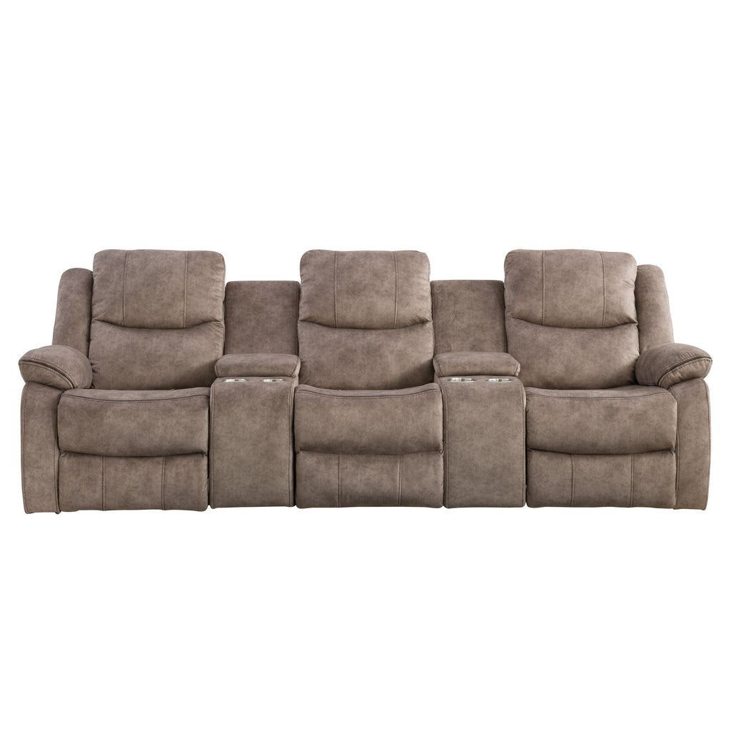 Syracuse Modular Reclining Home Theater-Style Sofa Sectional with Storage Consoles, Fabric 5pc