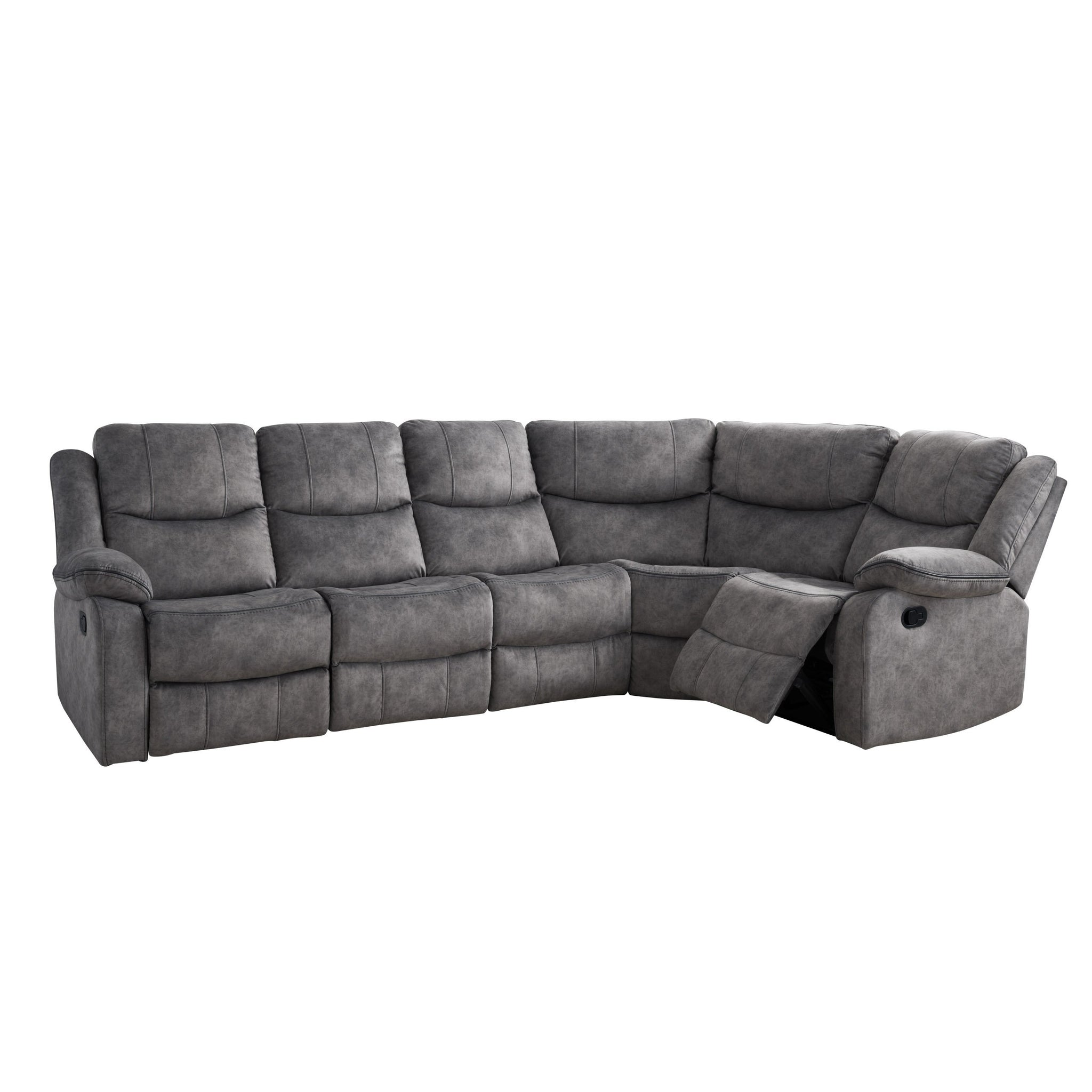Syracuse Curved Modular Reclining Sofa Sectional Fabric 5pc Corliving Furniture Us