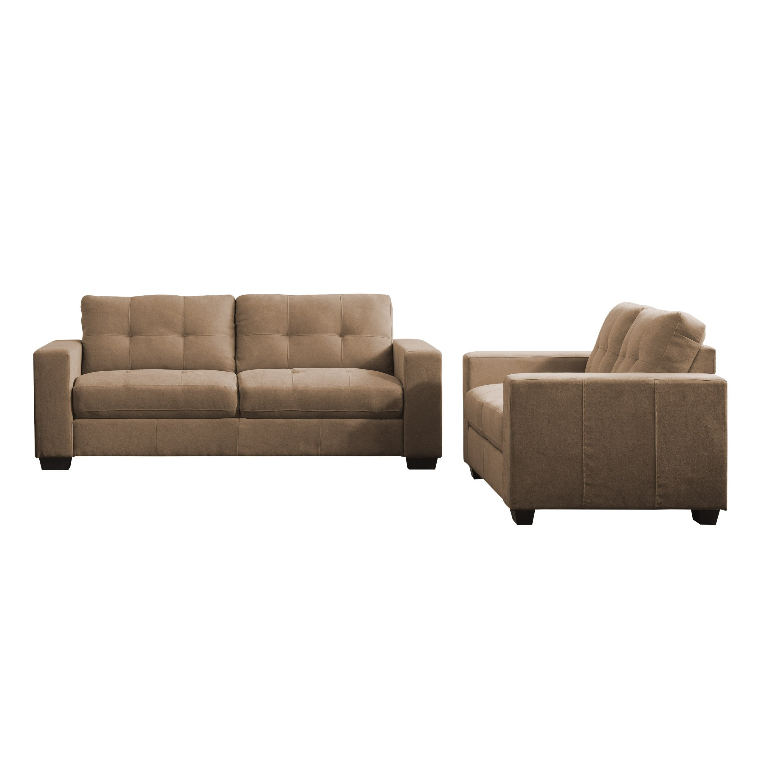 2pc Contemporary Brown Chenille Fabric Sofa Set - *CLEARANCE*