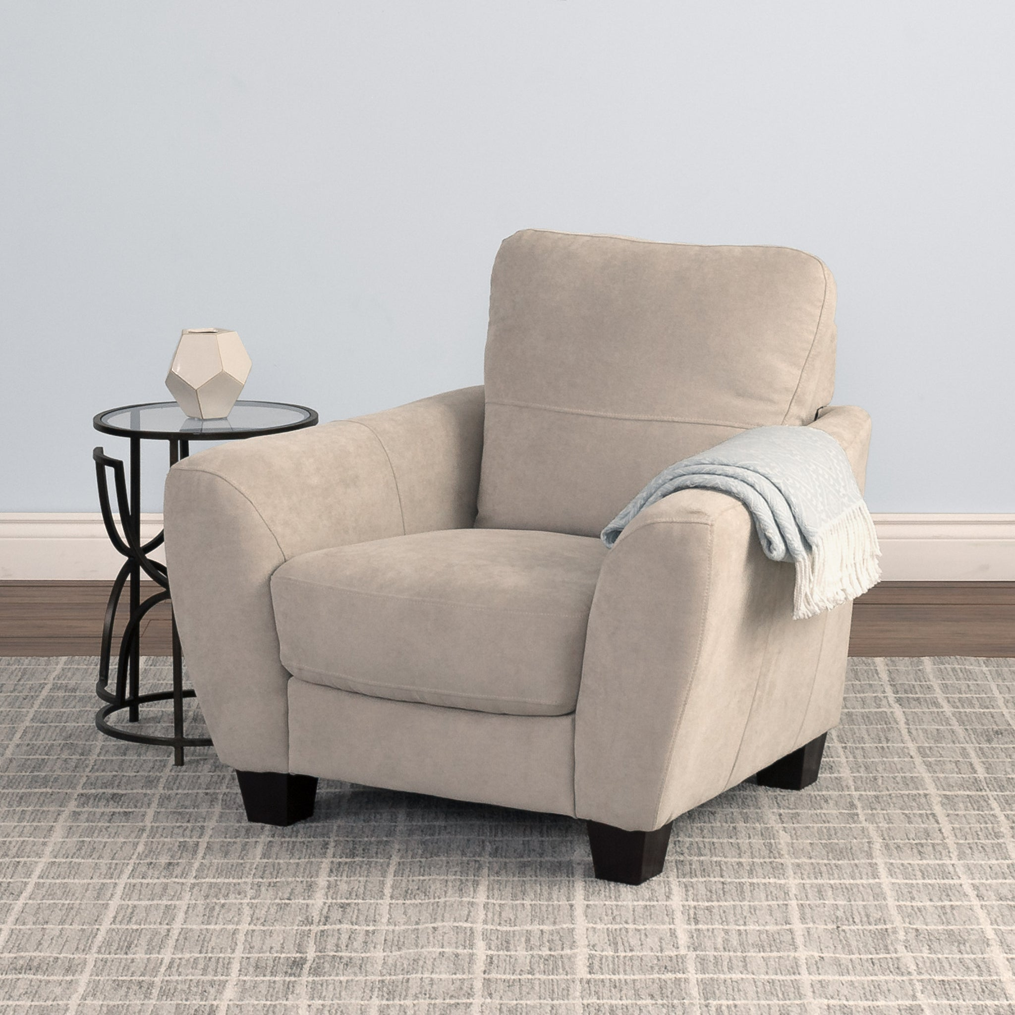Beige Chenille Fabric Armchair - *CLEARANCE* — CorLiving ...