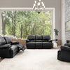 Lea Plush Power Reclining Bonded Leather Sofa Set with USB Ports 3pc
