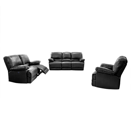 3pc Plush Power Reclining Bonded Leather Sofa Set with USB Ports