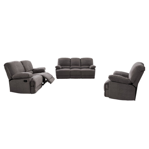 3pc Plush Reclining Chenille Fabric Sofa Set