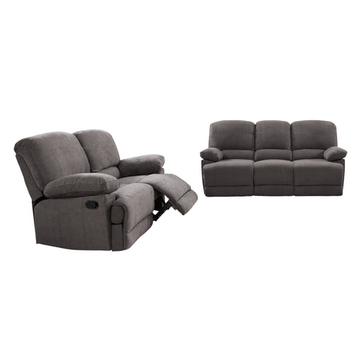 2pc Plush Reclining Chenille Fabric Sofa Set