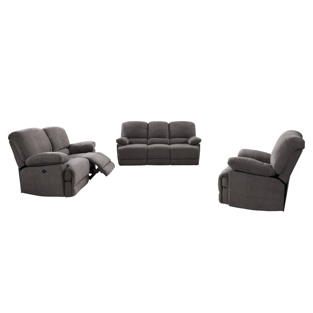 3pc Plush Power Reclining Chenille Fabric Sofa Set with USB Ports