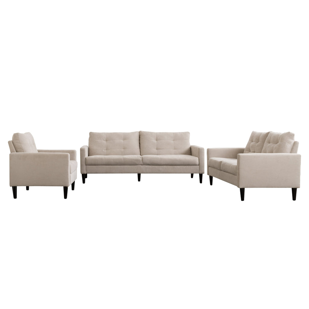 3 Piece Sewn Panel Tufted Sofa Set With Wooden Legs Clearance