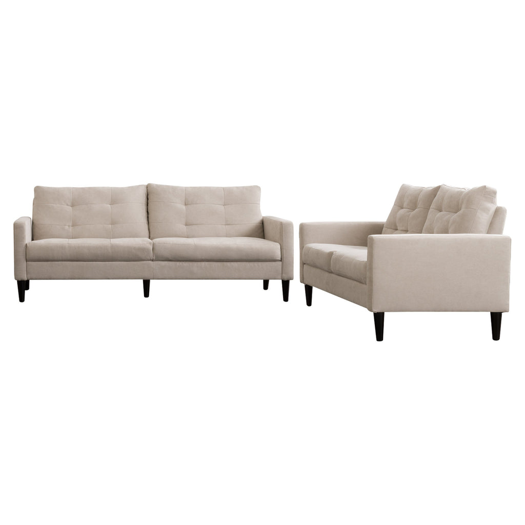 2 Piece Sewn Panel Tufted Sofa Set with Wooden Legs - *CLEARANCE*