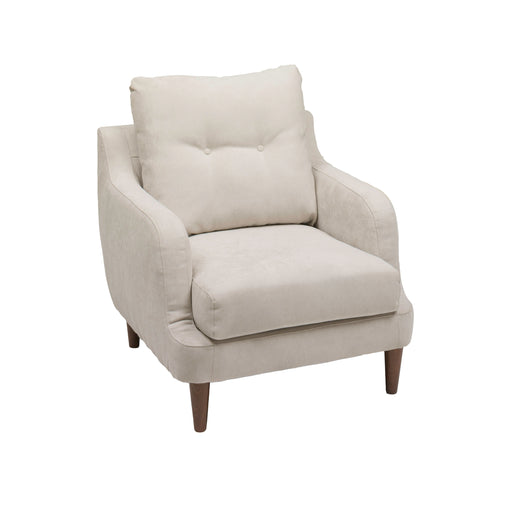 Beige Fabric Accent Chair with Sloped Armrests