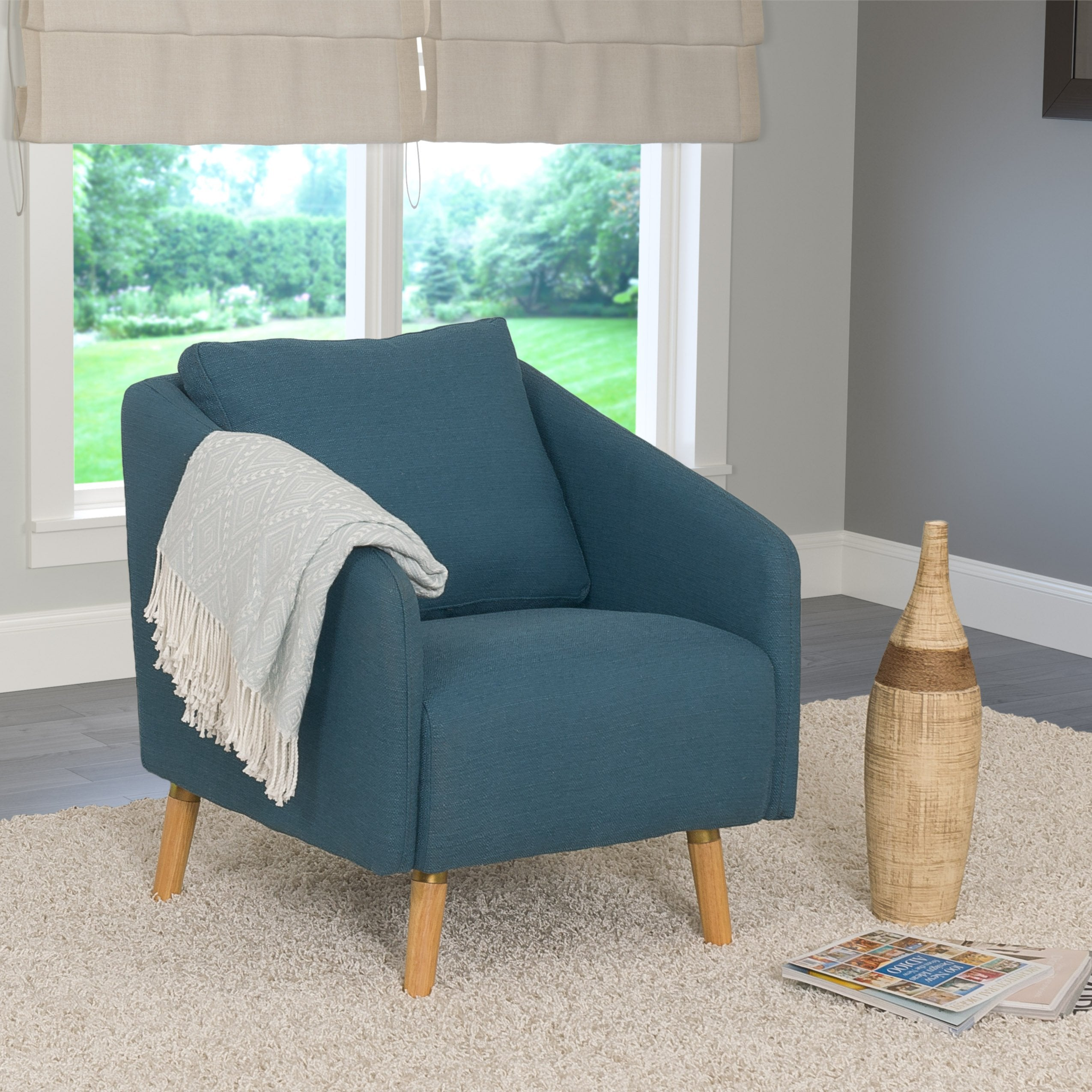 Woven Fabric Accent Chair With Flared Wooden Legs Clearance
