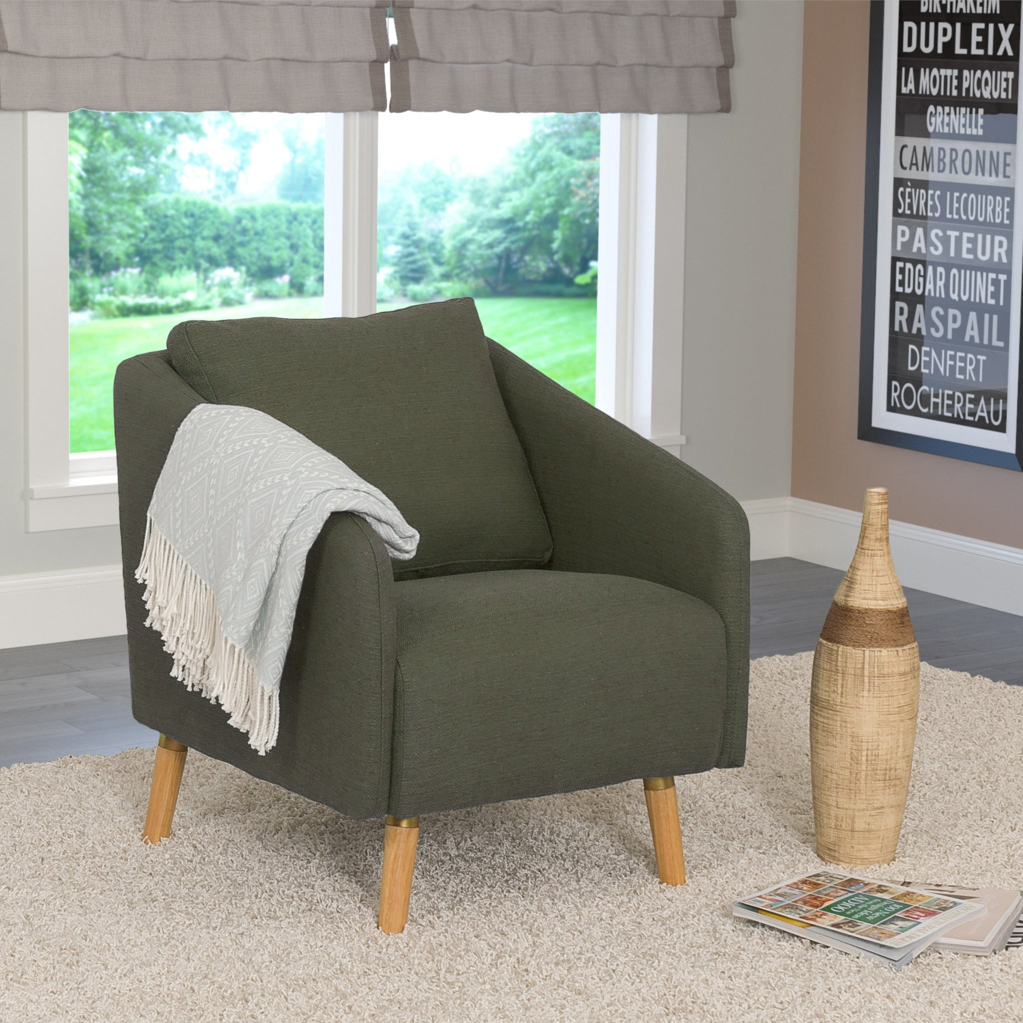 Picture of: Woven Fabric Accent Chair With Flared Wooden Legs Clearance Final Corliving Furniture Us