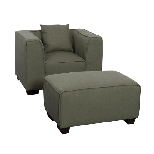 2pc Fabric Chair and Ottoman Set