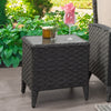 Parkview Wide Rattan Wicker Square Patio End Table with Glass Table Top