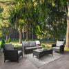Parkview Wide Rattan Wicker Sofa and Chair Patio Set 4pc