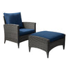 Parkview Wide Rattan Wicker Chair and Stool Patio Set 2pc