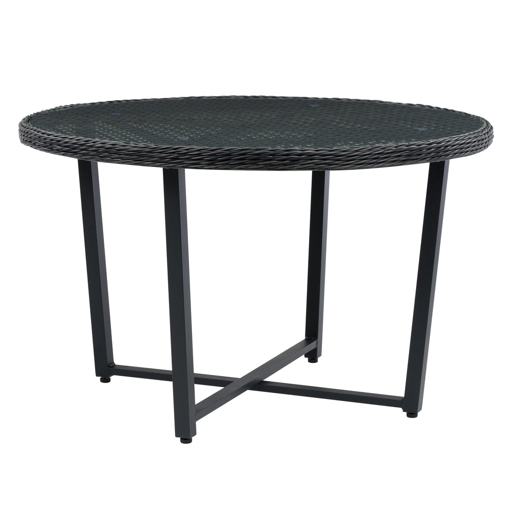 Parkview Wide Rattan Wicker Patio Dining Table with Glass Inset Table Top