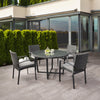 Parkview Wide Rattan Wicker Patio Dining Set with Textured Cushions 5pc