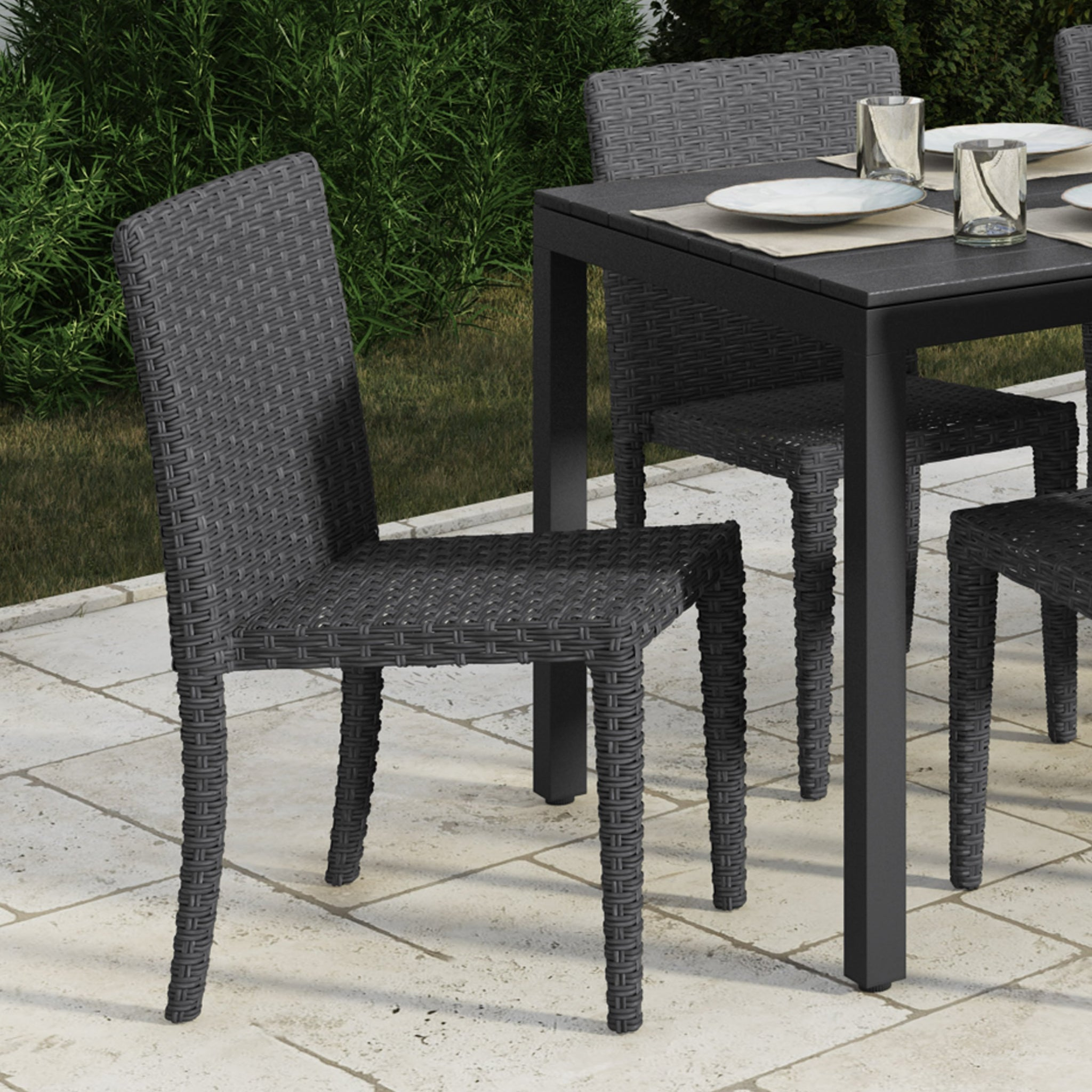 Brisbane Rattan Wicker Dining Chairs 4pc — CorLiving ...
