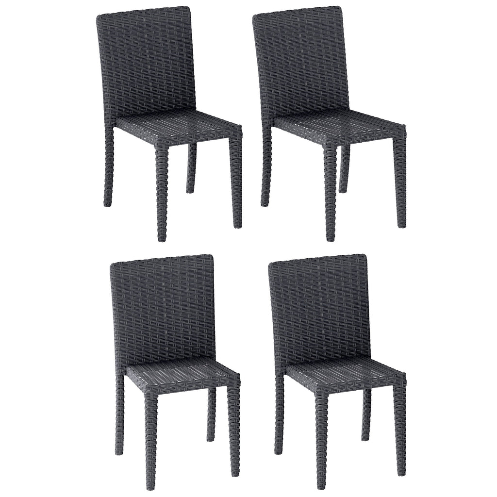 Rattan Wicker Dining Chairs Set of 4