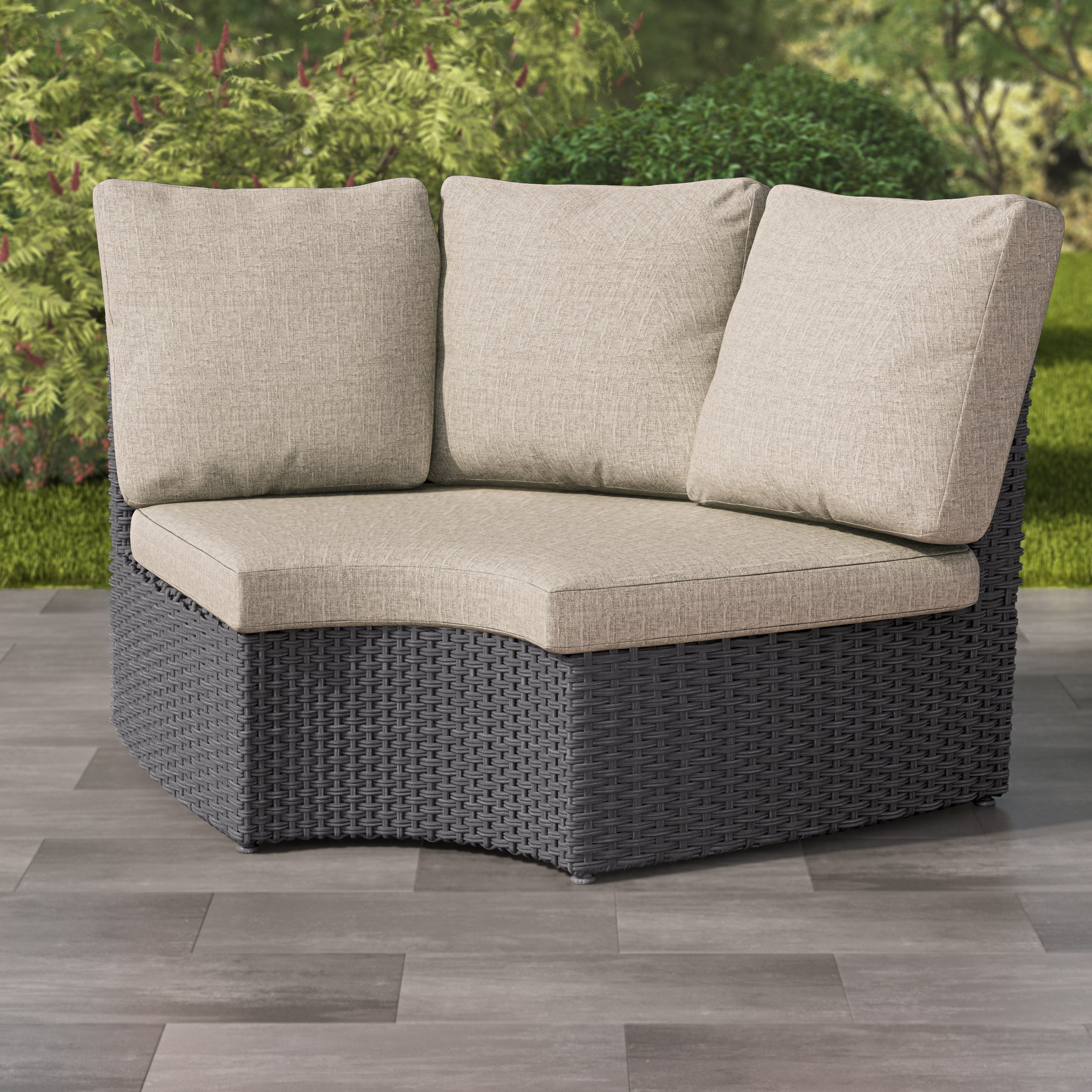 Weather Resistant Resin Wicker Curved Corner Patio Chair