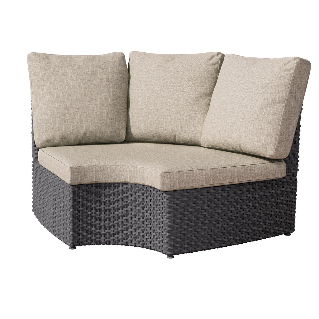 Brisbane Weather Resistant Resin Wicker Curved Corner Patio Chair