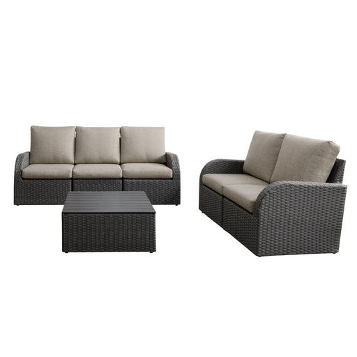 Brisbane Weather Resistant Sofa and Loveseat with Square Coffee Table 6pc