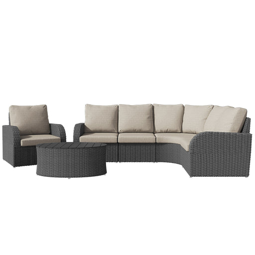 Brisbane Weather Resistant Curved Sectional with Oval Coffee Table 6pc