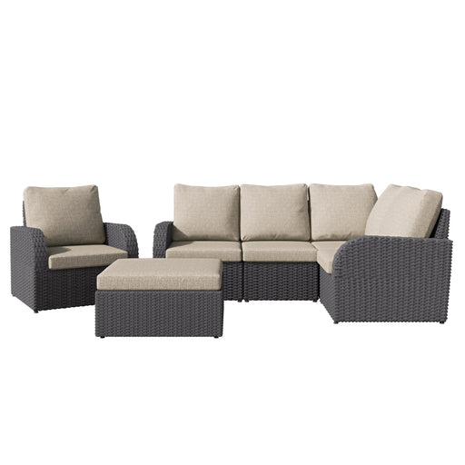 Brisbane Weather Resistant Corner Sectional with Oversized Ottoman 6pc