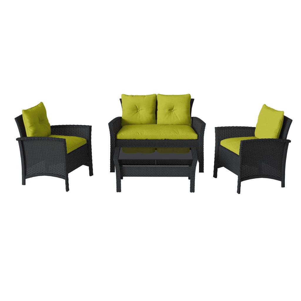 Cascade Black Resin Rattan Wicker Patio Set with Cushions 4pc