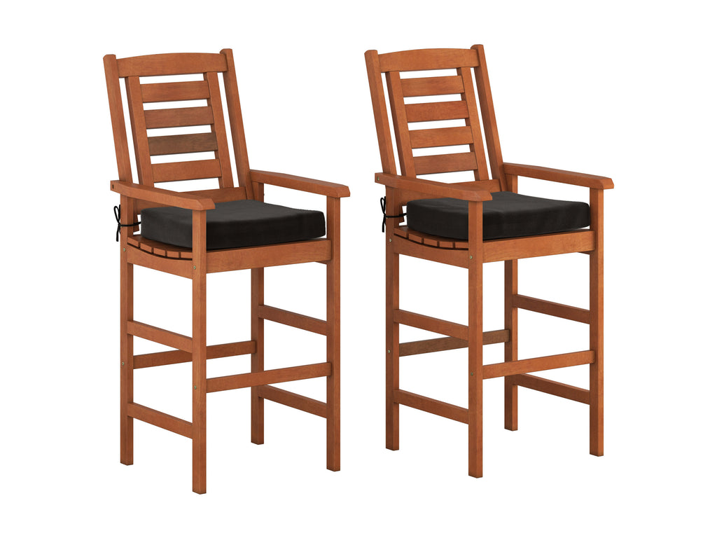 Cinnamon Brown Hardwood Outdoor Bar Height Chairs, Set of 2