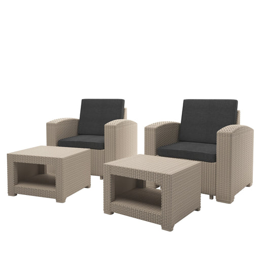 Adelaide All-Weather Chair and Ottoman Patio Set 4pc