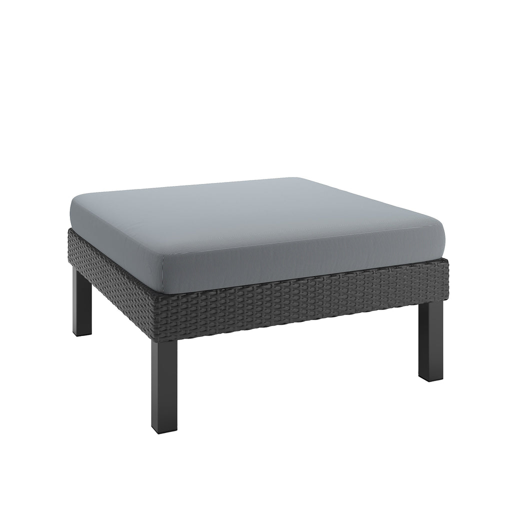 Oakland Patio Ottoman in Textured Black Weave - *CLEARANCE*