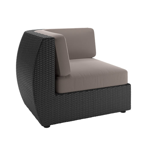 "Seattle Patio Corner Seat in Textured Black Weave - <body><p style=""color:#ED1C24"";>*CLEARANCE - Final Sale*</p></body>"