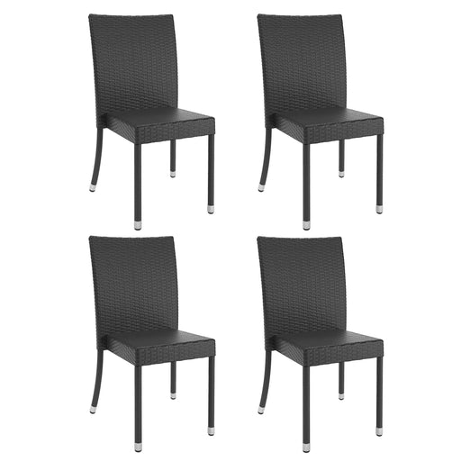 Brisbane Charcoal Black Weave Dining Chairs, 4pc- *CLEARANCE - Final Sale*