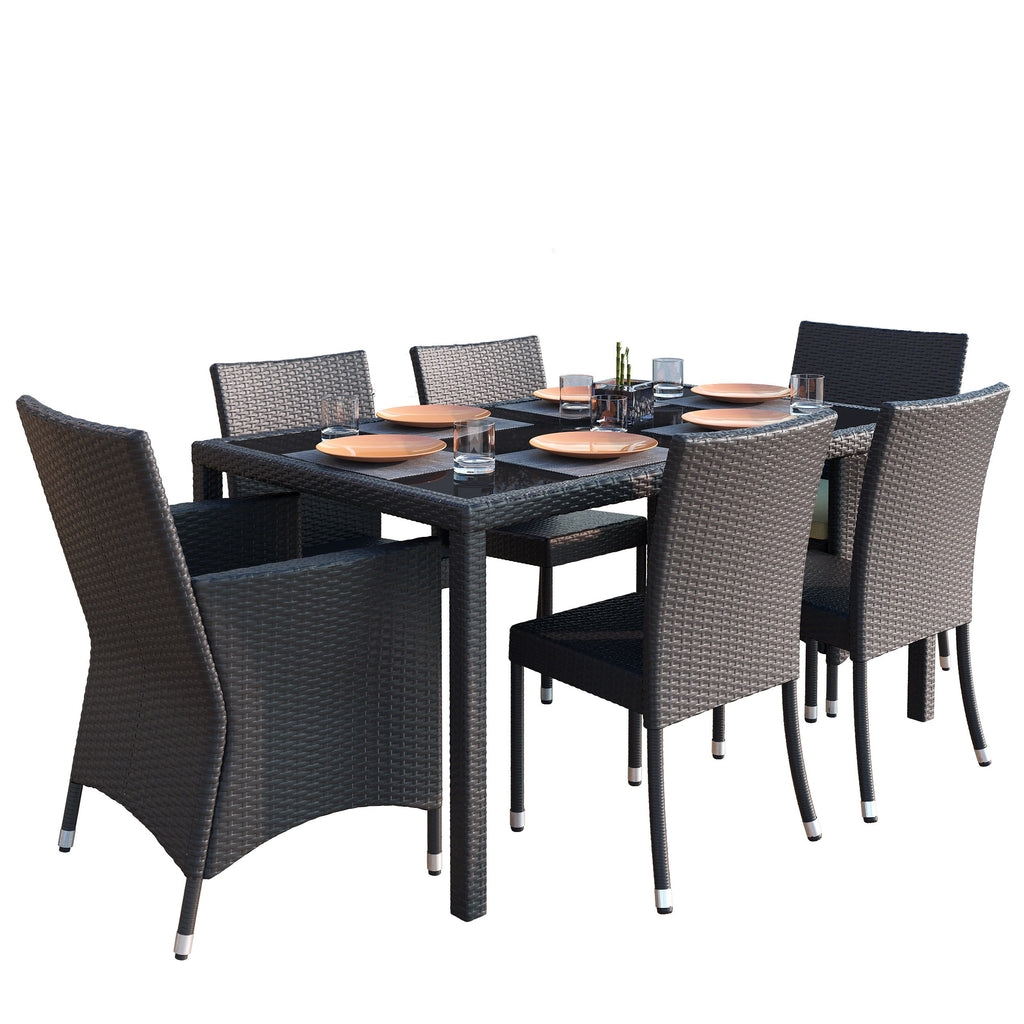 7 Piece Charcoal Black Weave Patio Dining Set - *CLEARANCE*