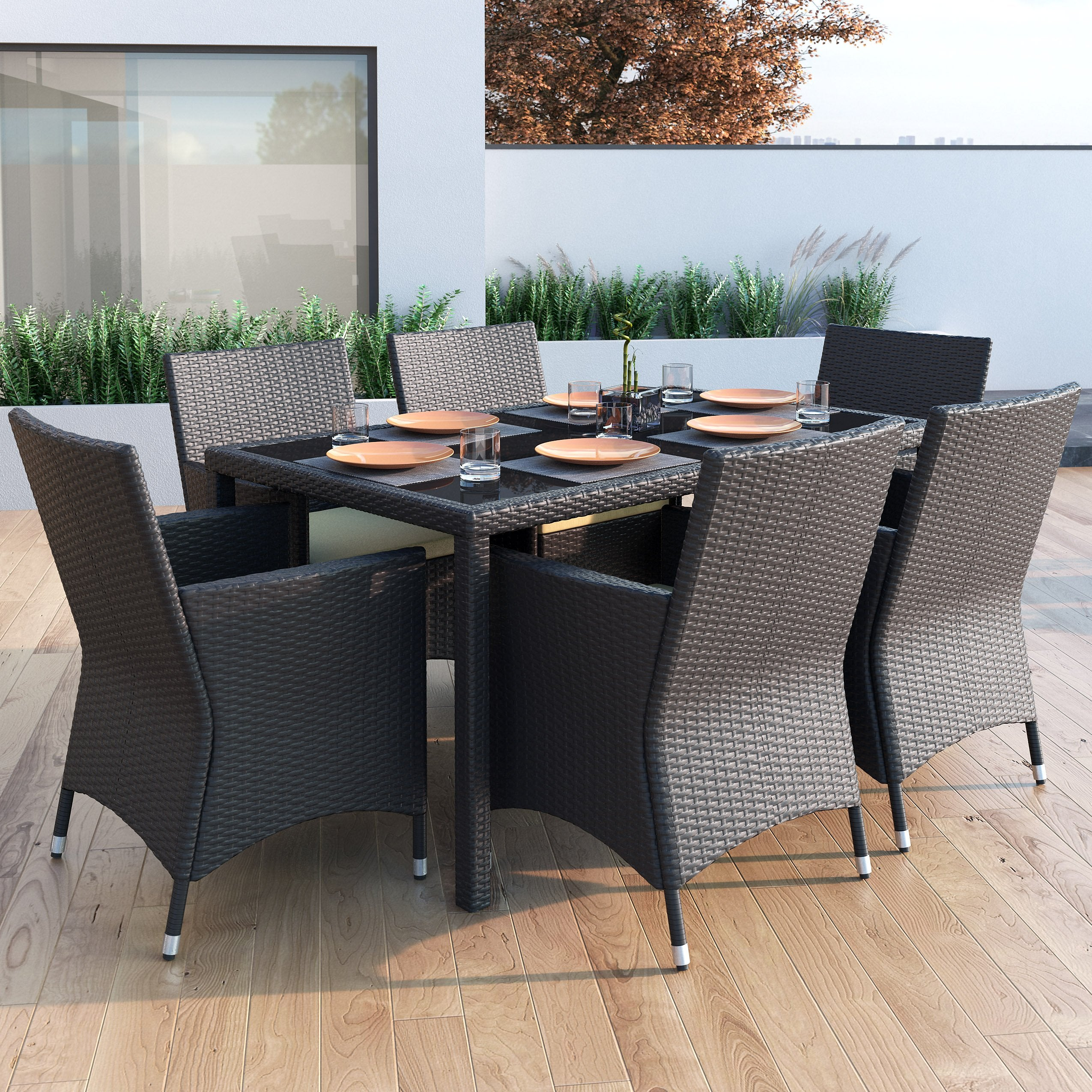 Dining Set Clearance: 7 Piece Charcoal Black Weave Patio Dining Set